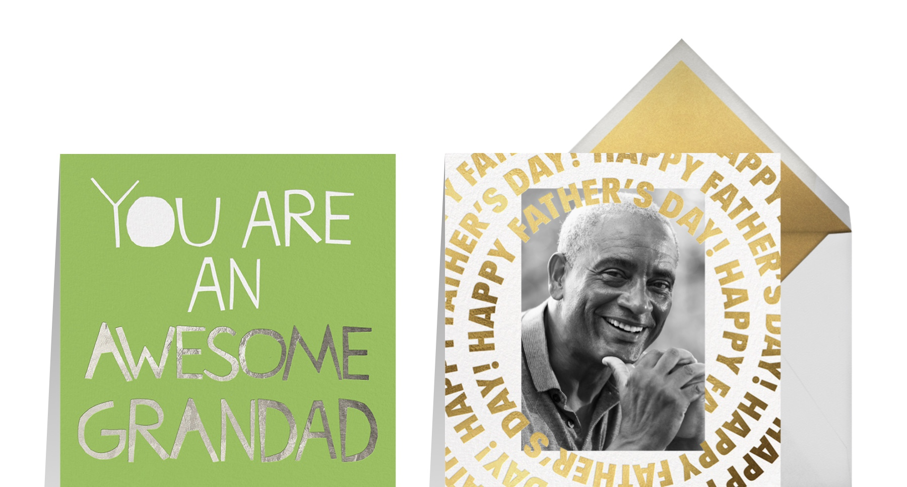"""""""Awesome Grandad"""" by Ashley G for Paperless Post and """"Gold Record"""" by Paperless Post"""