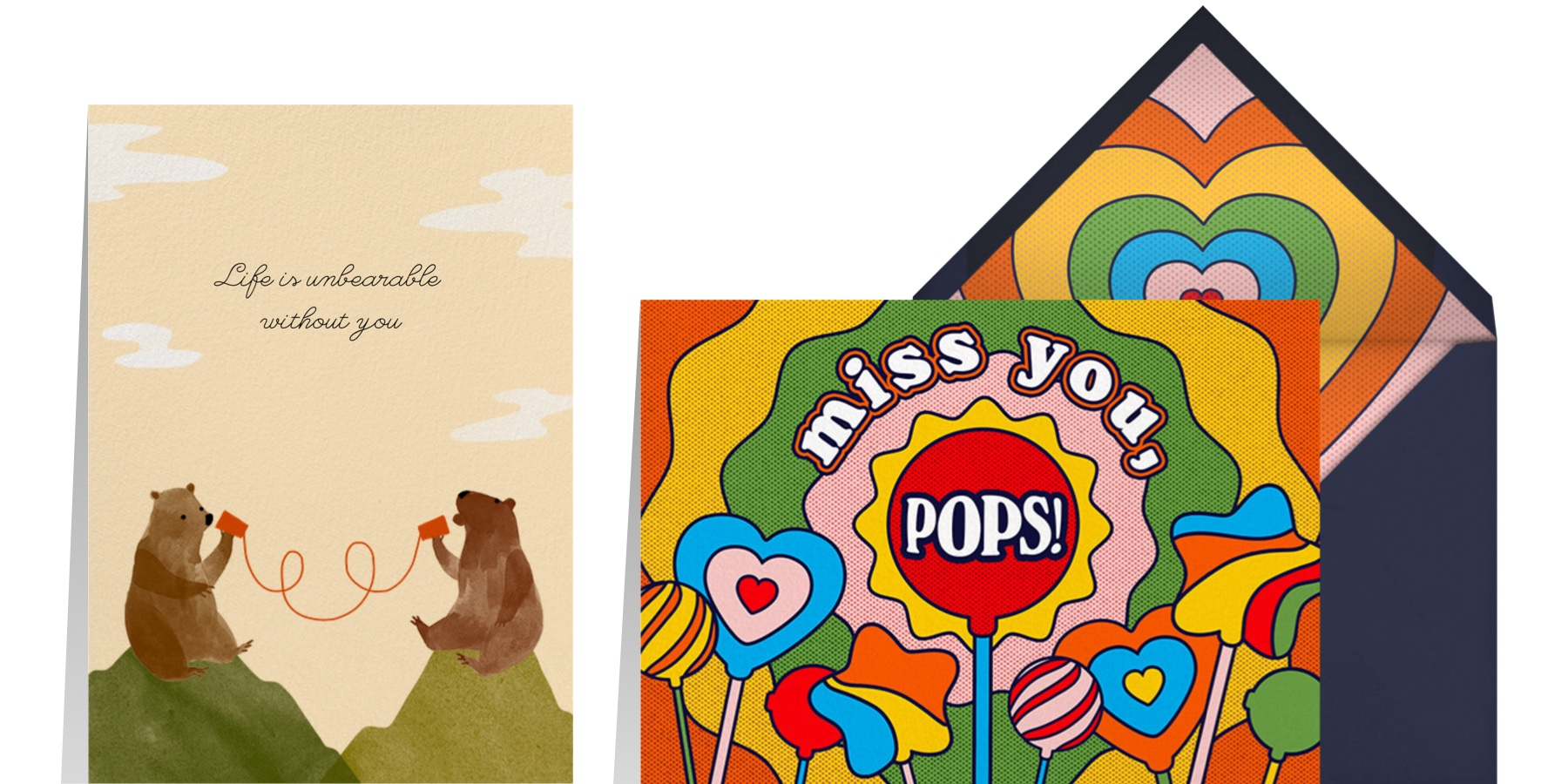 """""""Bear Mountain"""" by Paperless Post and """"Rainbow Pops"""" by Paperless Post"""
