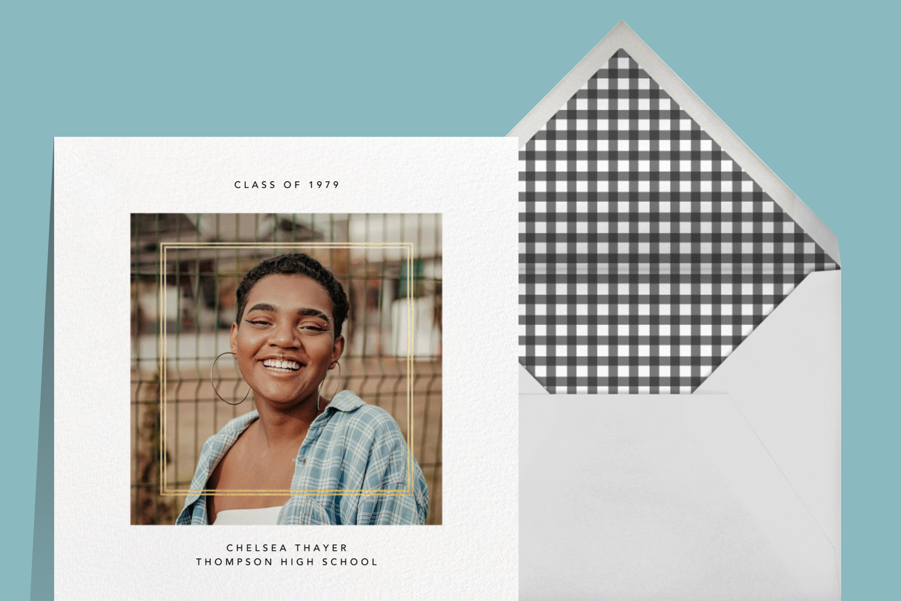 """""""Quadrata"""" announcement by Paperless Post. The white card features a large square customizable photo area to upload your own."""