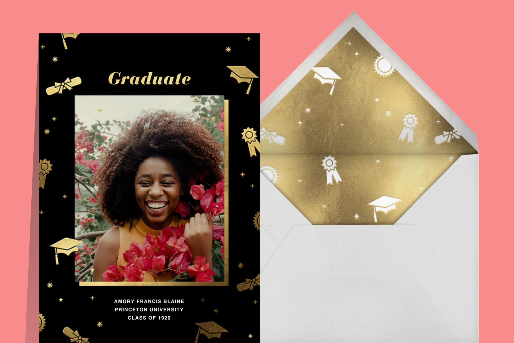 """""""Grad Confetti"""" announcement by Paperless Post. The black card features a rectangular customizable photo opening with gold graduation-themed icons."""