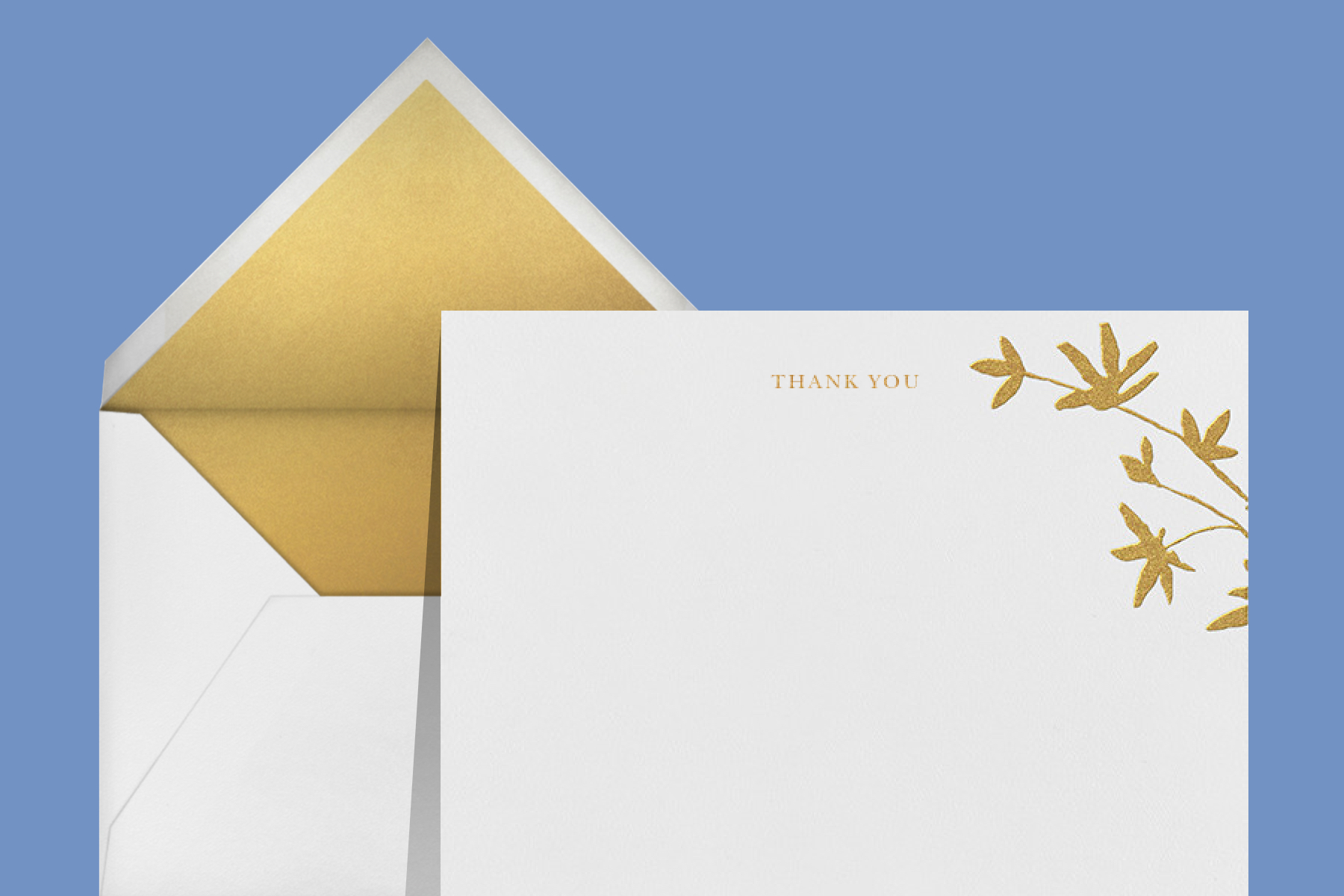 """""""Oliver Park I (Stationery)"""" thank you card by kate spade new york for Paperless Post. The white card features the words """"thank you"""" and gold palm trees."""