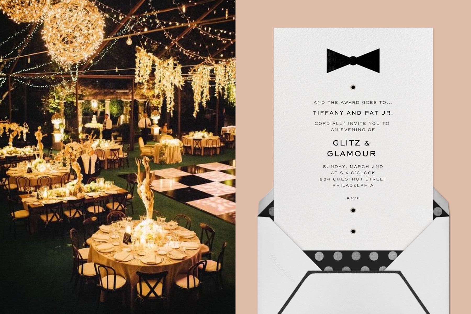 """Left: Decadent party decor including chandeliers and black and gold table settings and dance floor. 