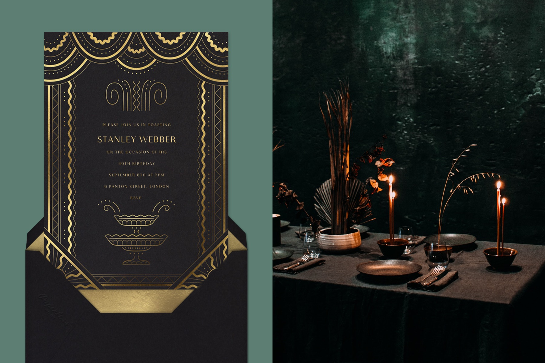 """Left: """"La Grande Gatz"""" invitation by Paperless Post featuring a black card with gold designs that look like a drape on a green background. 