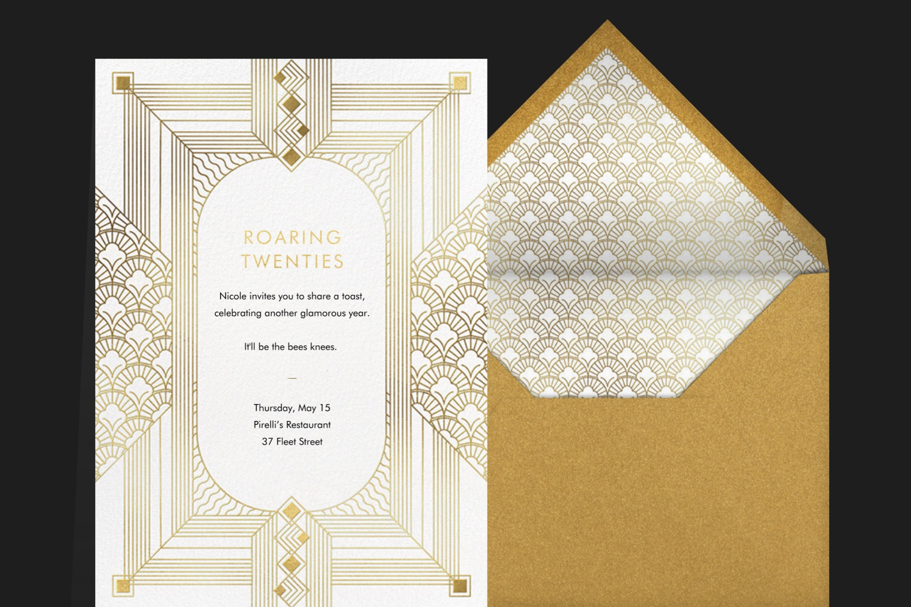"""""""Ruhlmann"""" invitation by Paperless Post featuring a gold and white art deco card on a black background."""
