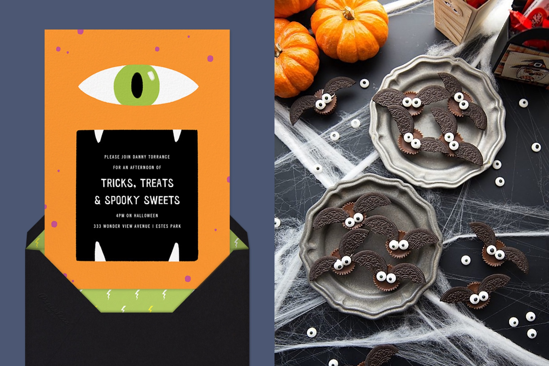 """Left: """"Hungry Eye"""" invitation by Paperless Post. The orange card features an illustration of a cyclops monster's face with the text in its gaping mouth. The card appears on a dark blue background   Right: Homemade Halloween Treats featuring bats made out of peanut butter cups and Oreos. Photo Credit: Chelsea's Messy Apron"""
