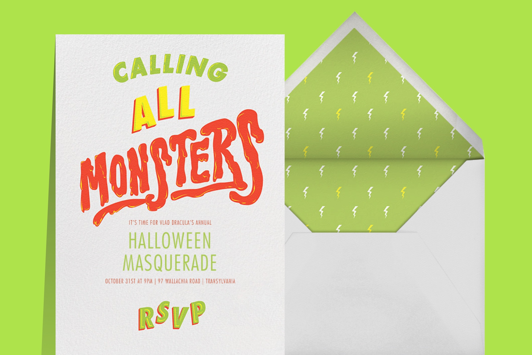 """""""Horror Strikes at Midnight"""" invitation by Paperless Post. The white card features graphic text that reads """"Calling All Monsters"""". The card appears on a lime green background."""