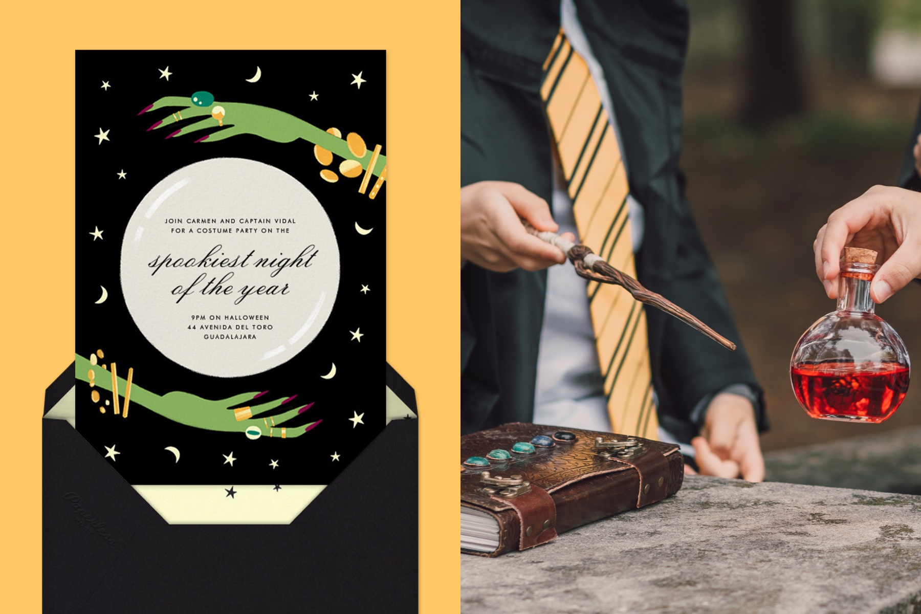 """Left: """"Crystal Ball"""" invitation by Paperless Post. The black card features an illustration of a witch's hands around a crystal ball, in which the text appears. The card is on a yellow background.   Right: Close-up photo of a person wearing a wizard costume and holding a magic wand. Another hand is holding a potion. A leather-bound book lies in the foreground."""