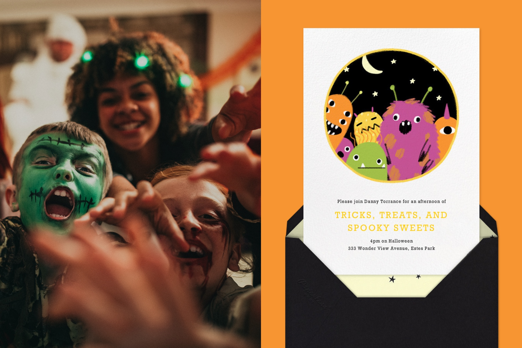 """Left: Group of children in Halloween costumes crowding the camera as if they are zombies.   Right: """"Party Monsters"""" invitation by Paperless Post. The white card features an illustration of 6 monsters peeking at the viewer, as if through a keyhole."""
