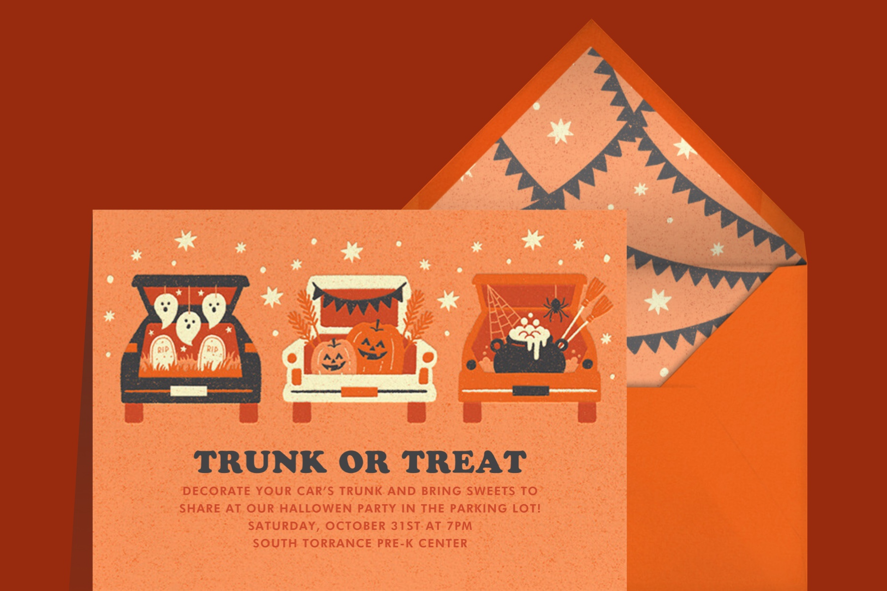 """""""Trunk or Treat"""" invitation by Paperless Post. The orange card features an illustration of three cards with their trunks open and Halloween goodies, like ghosts, jack-o'-lanterns, and a cauldron, inside. The card appears on a red background."""
