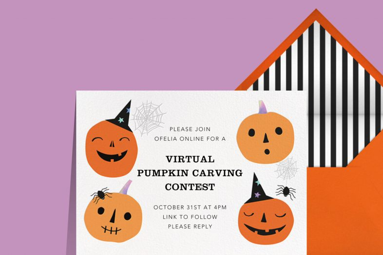 """""""Pumpkin Club"""" invitation by Paperless Post. The white card features four jack-o'-lanterns wearing party hats. The card appears on a lilac background."""