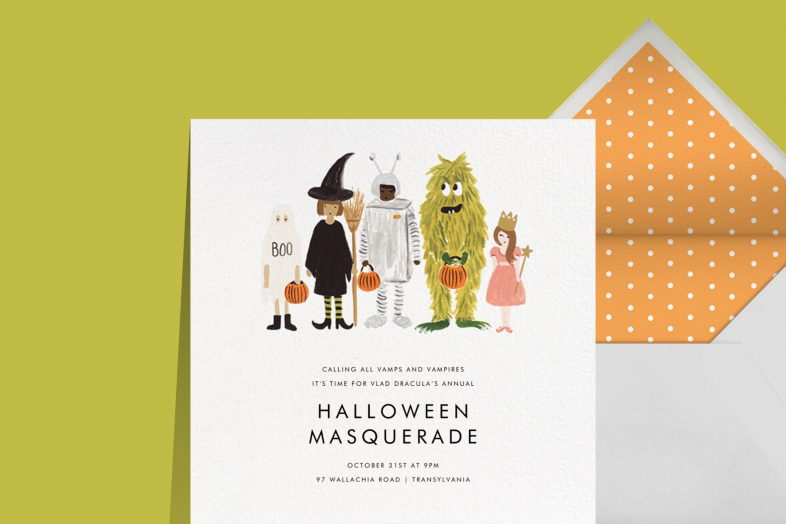"""""""Little Treats"""" invitation by Rifle Paper Co. for Paperless Post. The white card features an illustration of five people of various sizes wearing Halloween costumes. The card appears on a lime green background."""