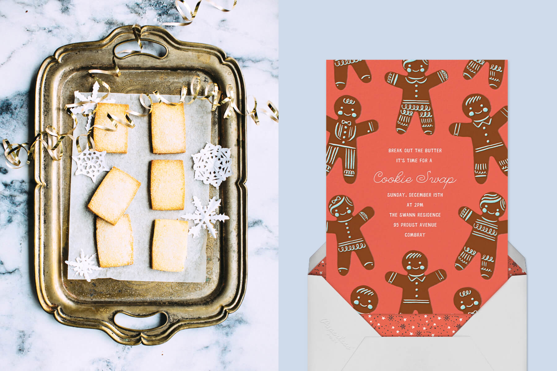 christmas cookie drop-off with an image of shortbread cookies on a tray and a gingerbread man invitation