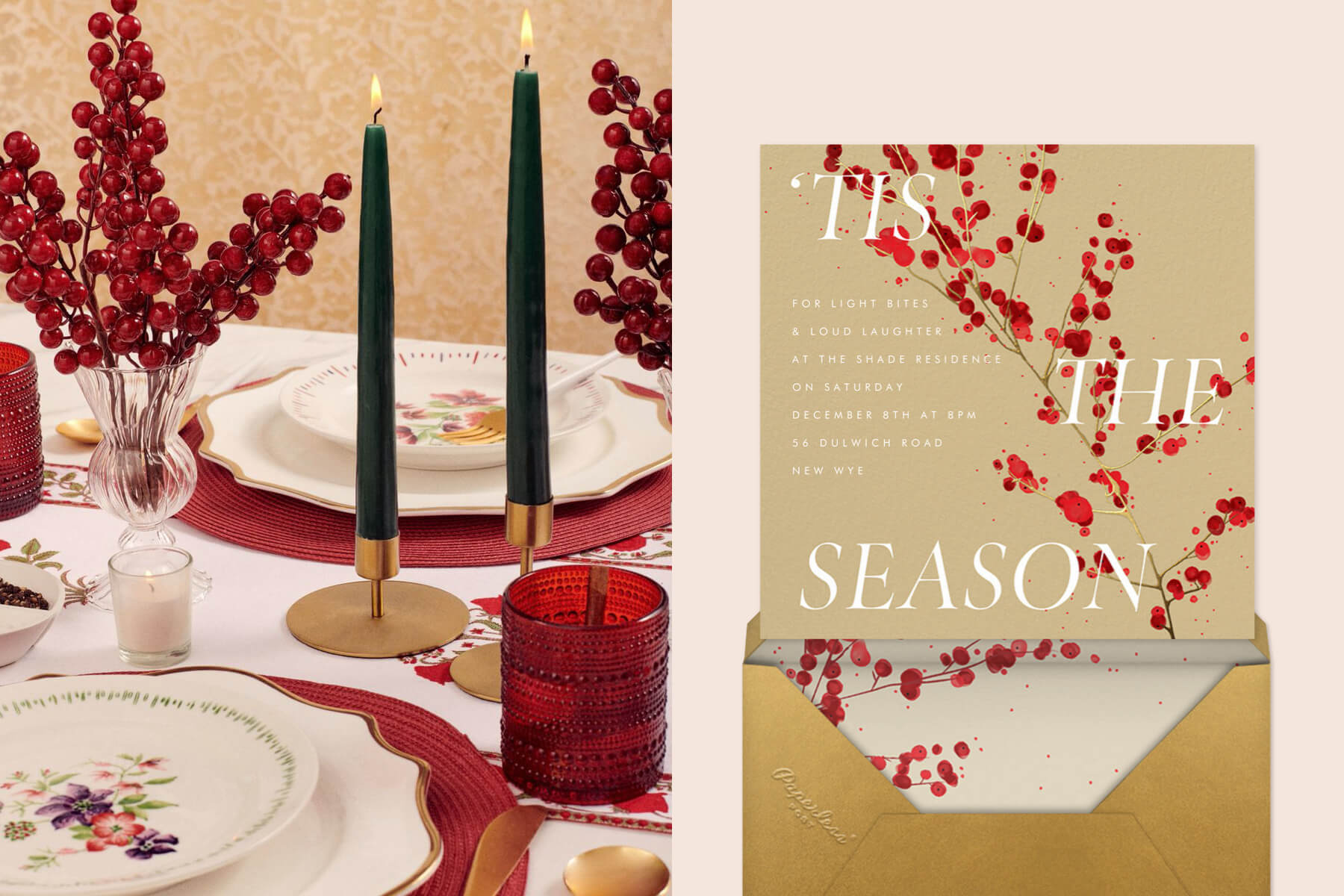Berry Scandi table from Social Studies paired with winter berry invitation from Paperless Post
