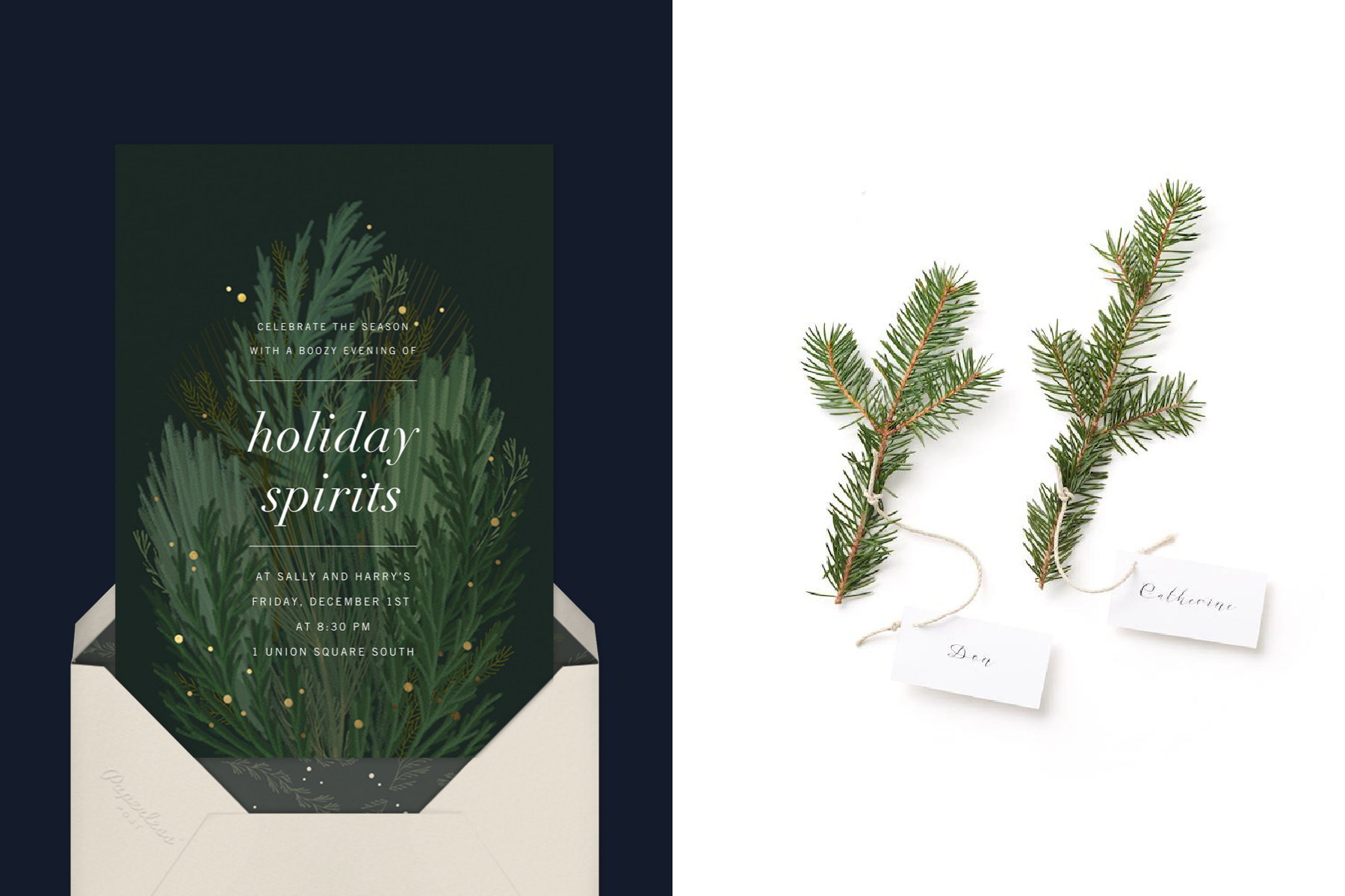 evergreen invitation and place cards for covid Christmas parties