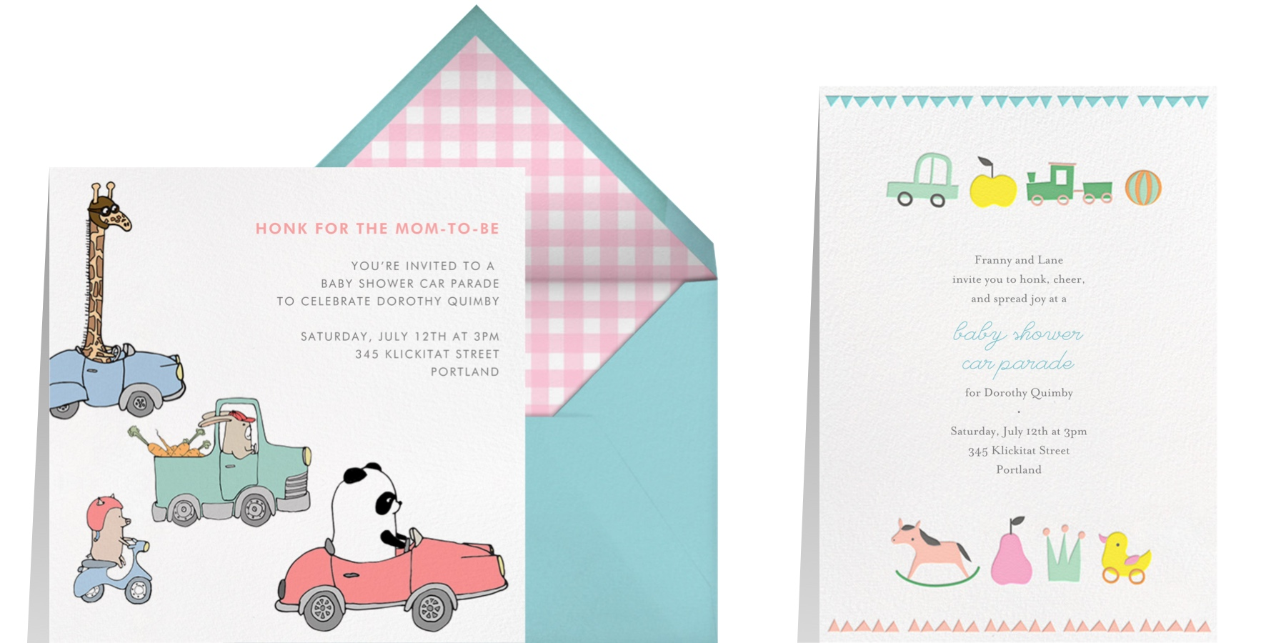 drive by baby shower party invitations