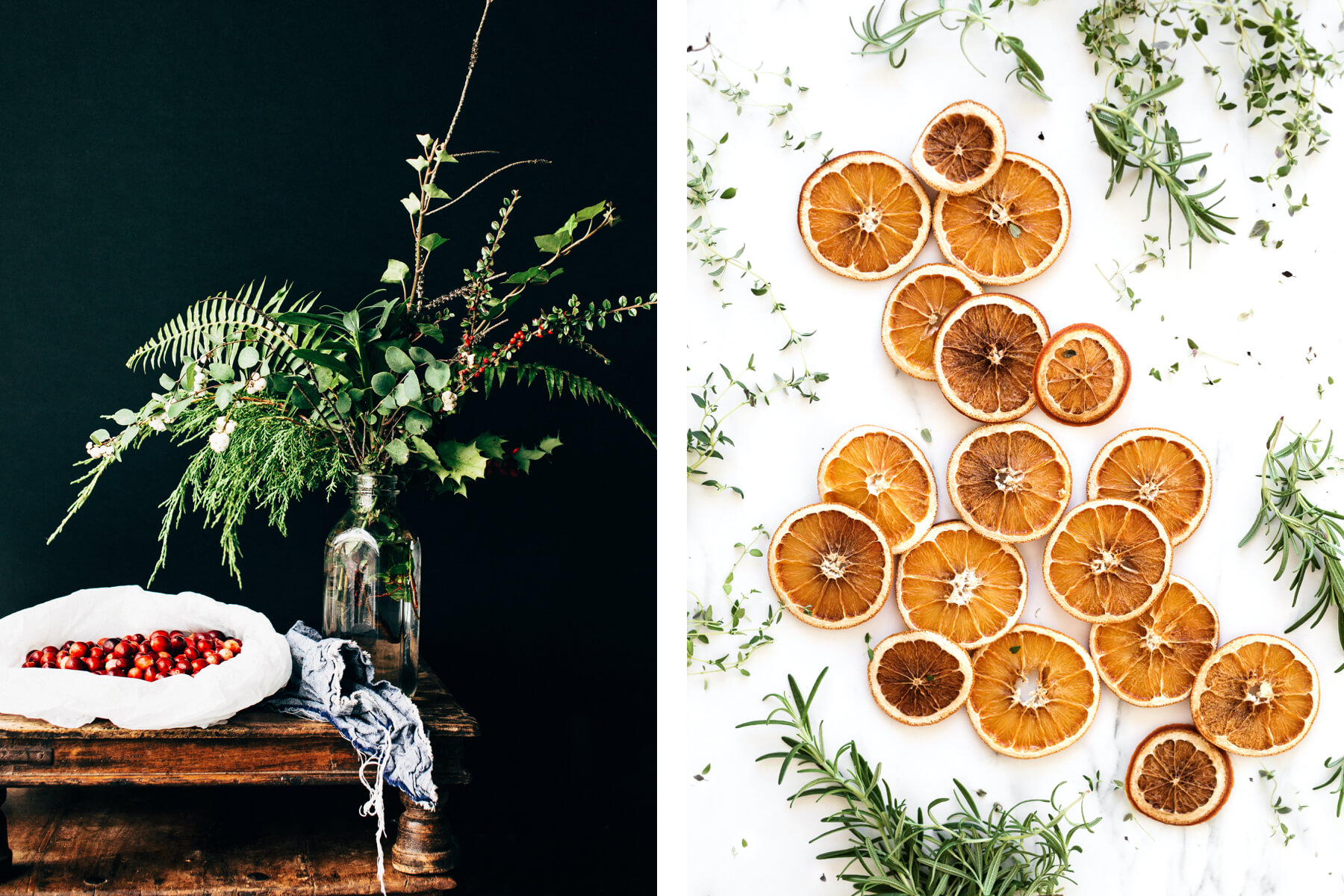 how to decorate for a holiday party using evergreens and citrus