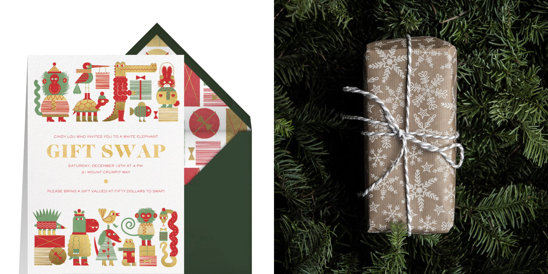 gift swap invitations by Paperless Posst