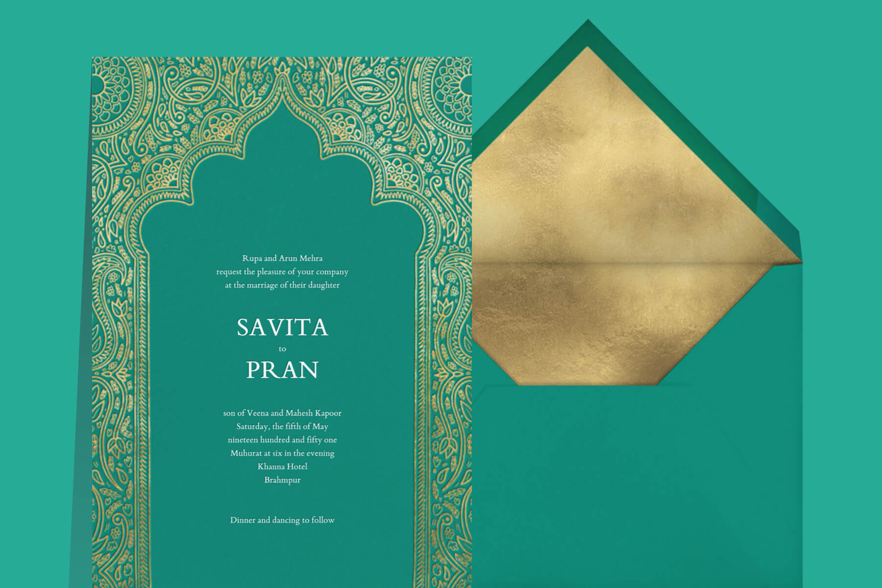 """Our """"Dvaar"""" wedding suite is a vision in turquoise."""