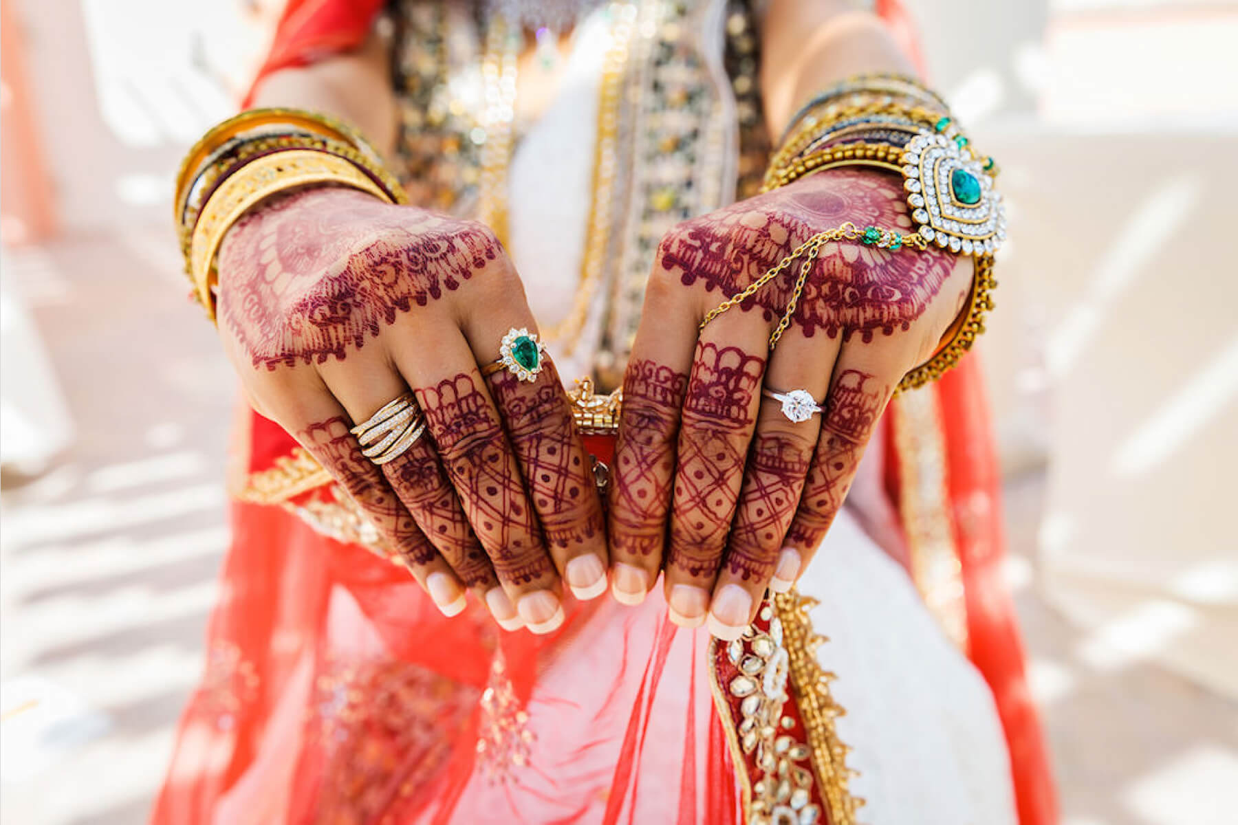 Bride holding out her hands covered in mendhi and rings.