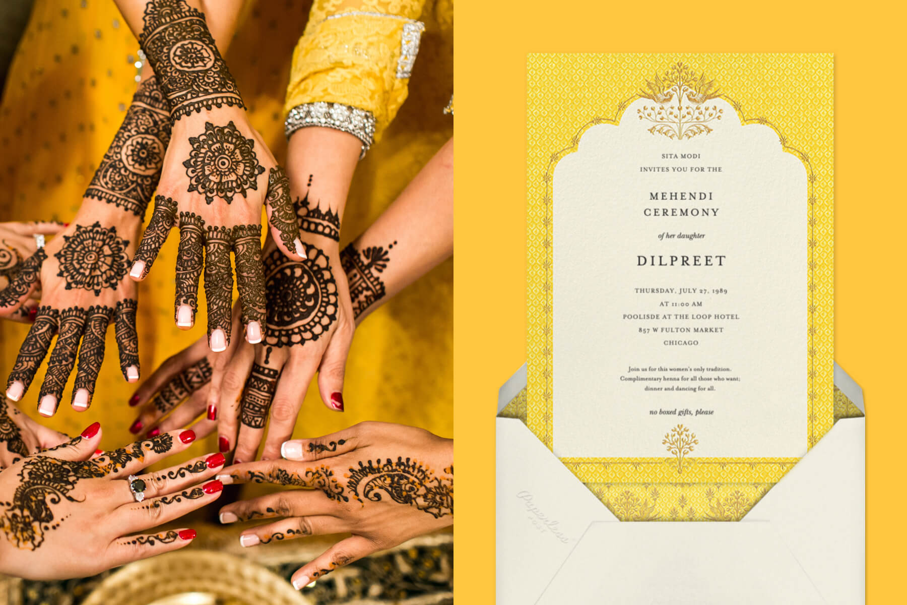 """Left: Women's hands adorned in mendhi and manicures 