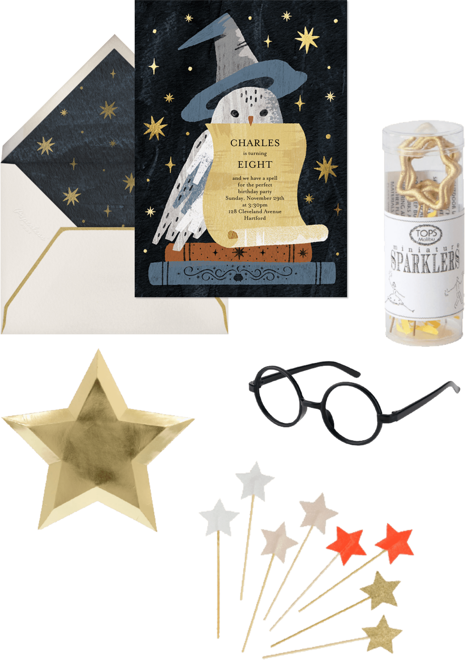 wizard birthday party invitation and supplies