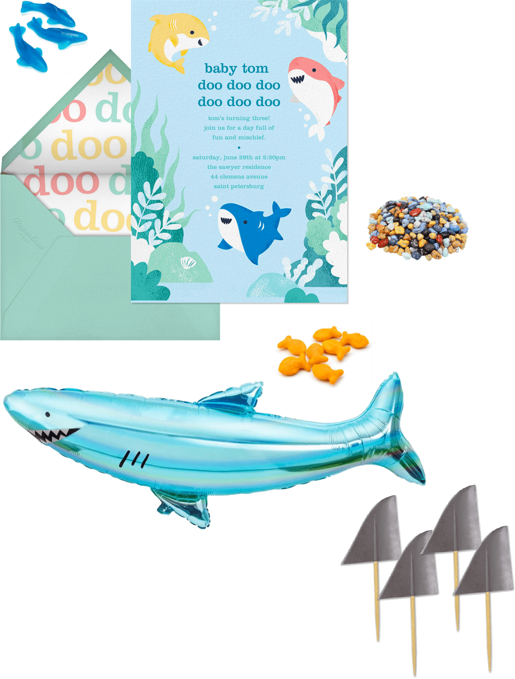 Baby Shark birthday party invitation and supplies