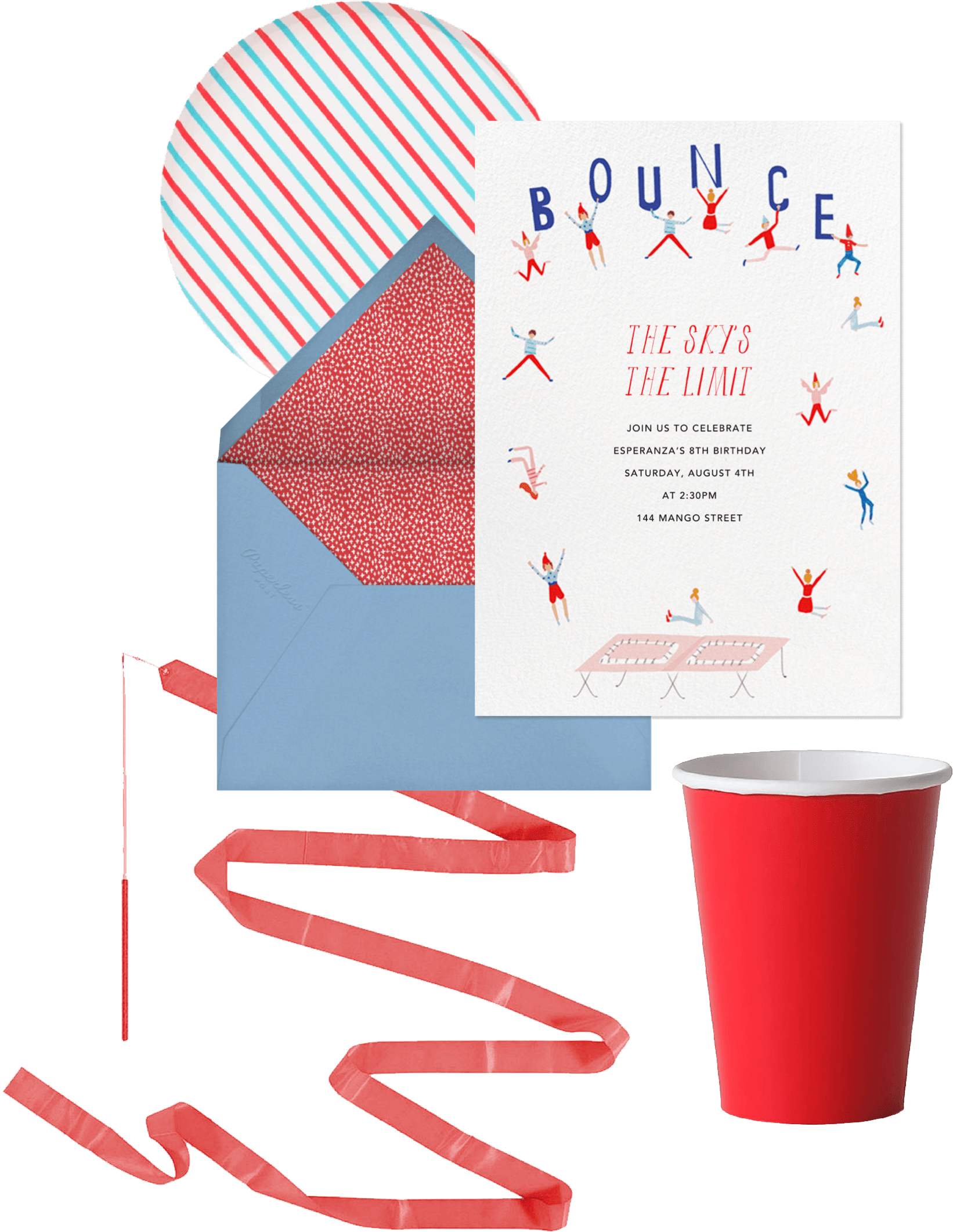 gymnastics and tumbling birthday party invitations and supplies
