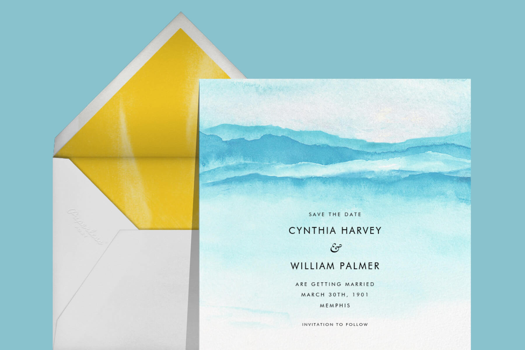 Save-the-date card with abstract blue watercolor.