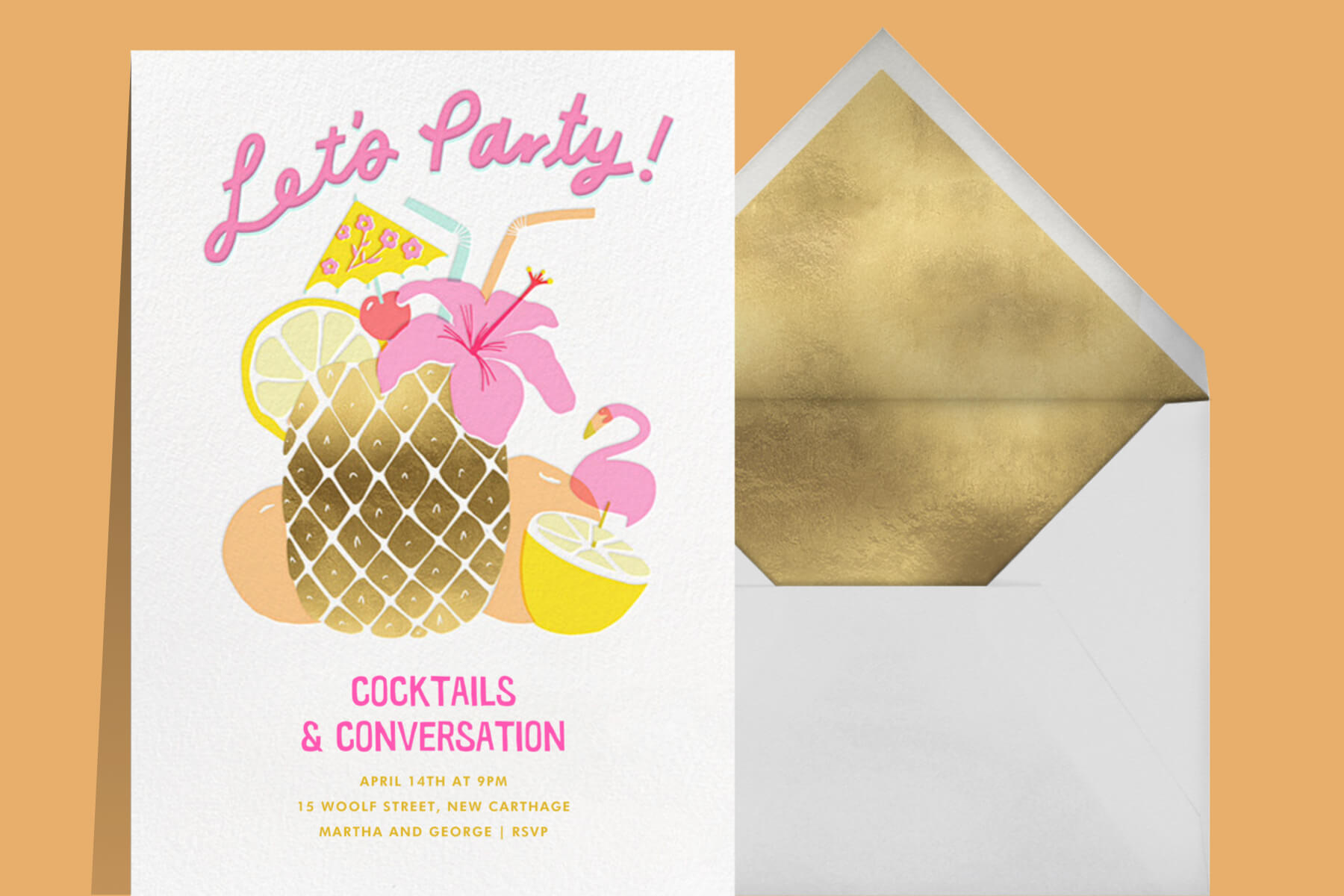 Pink and gold party invitation with tropical drink in a pineapple-shaped vessel.