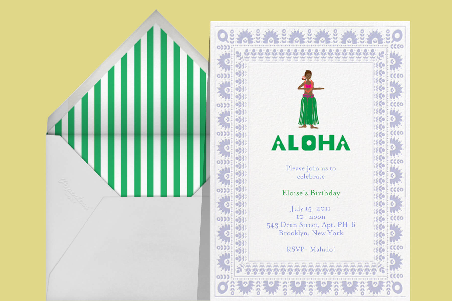 Birthday party invitation with an illustration of a woman in a grass skirt dancing the hula.
