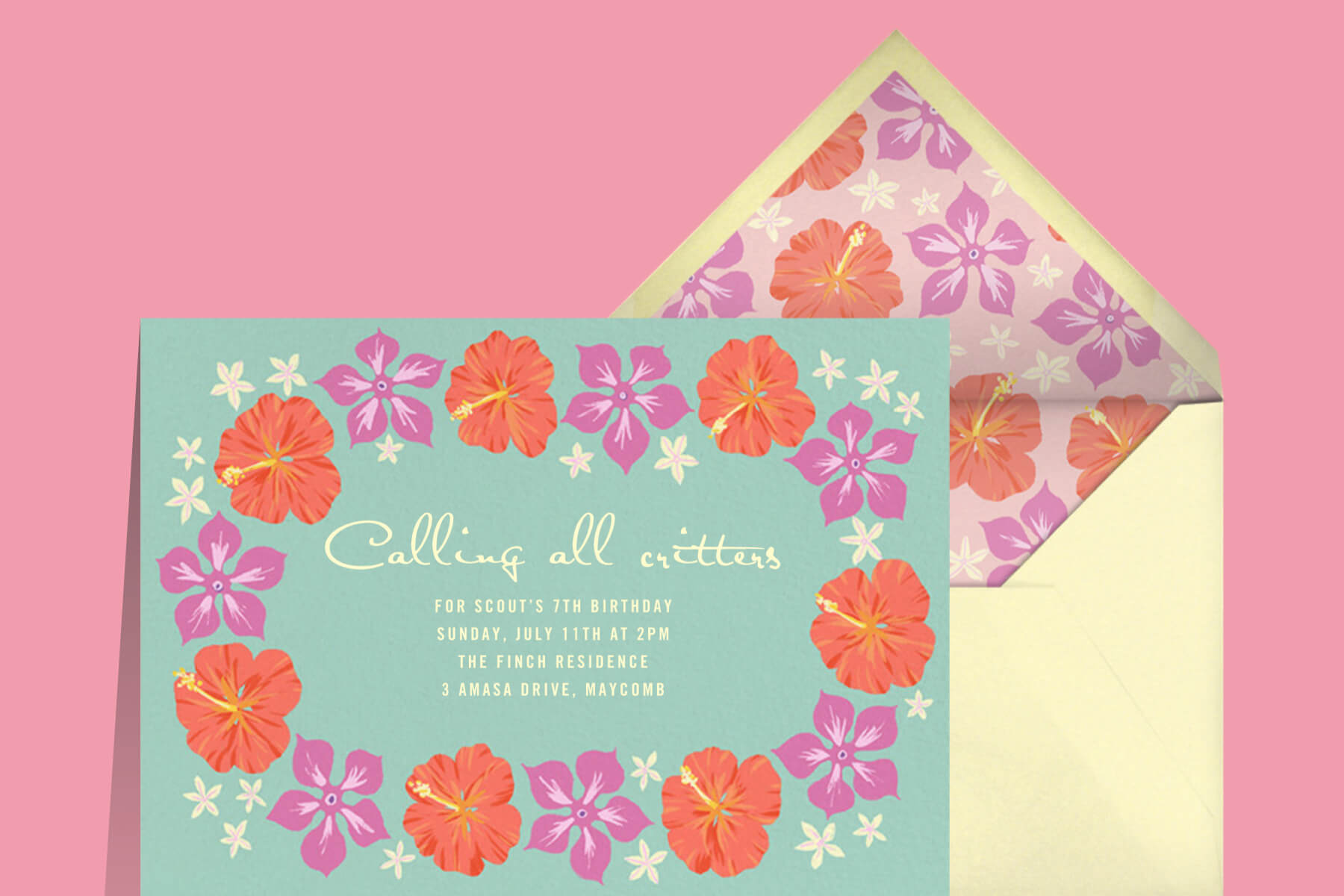 Birthday party invitation with red and purple hibiscus flowers.