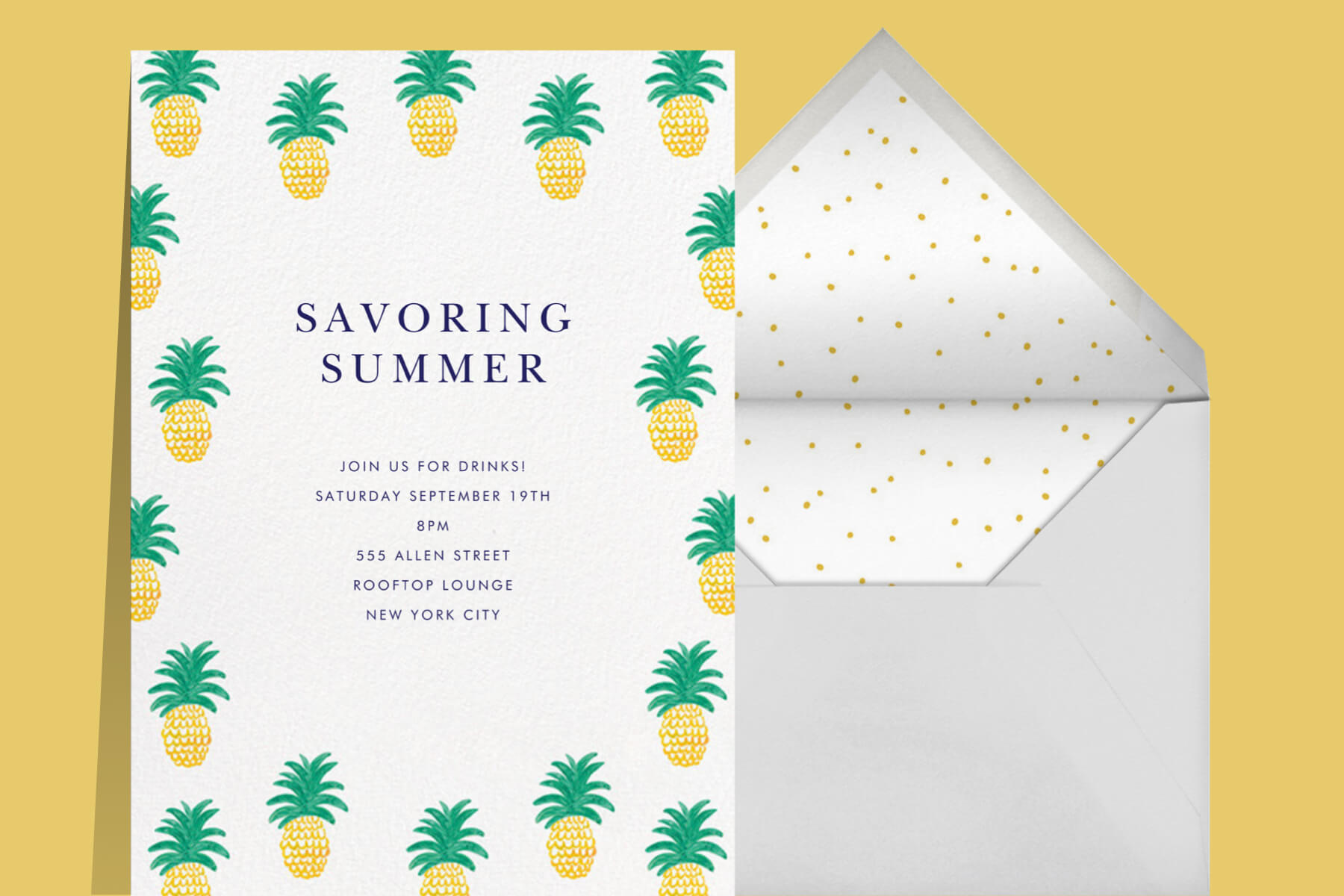 Party invitation with pineapple illustrations.