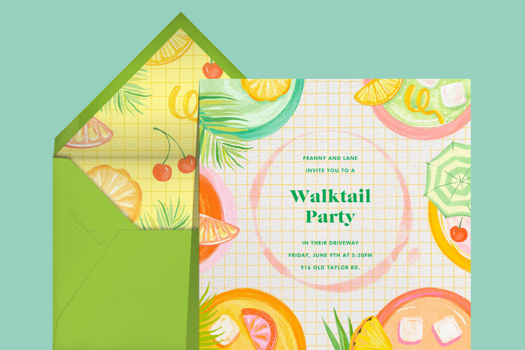 Party invitation with illustrations of tropical cocktails.