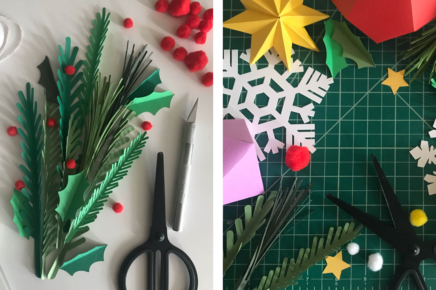 Cut paper snowflakes and stars