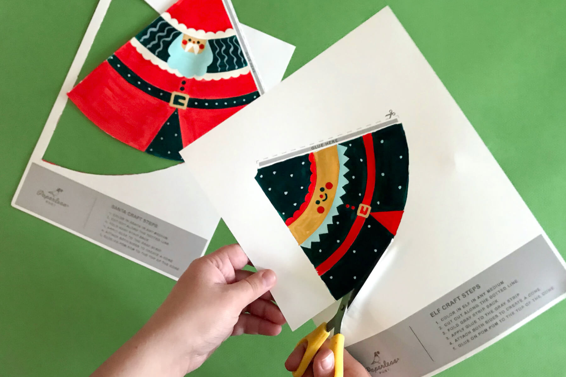 cut along the lines to create the Santa and Elf craft