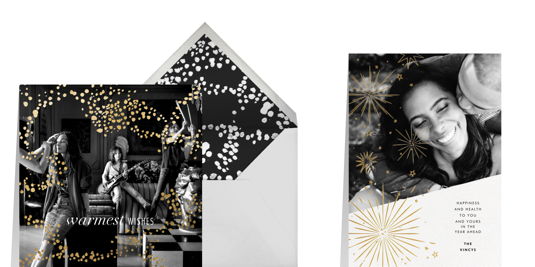 traditional New Year's greeting card wording featuring black, white, and gold cards from Paperless Post