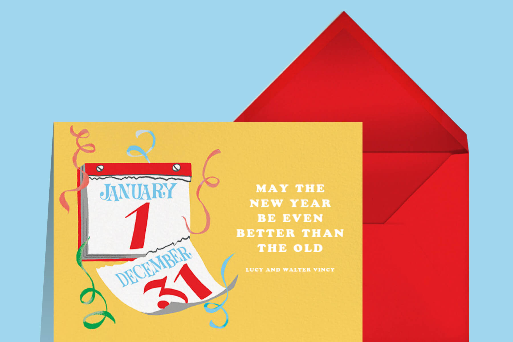 New Year's wishes for friends featuring a New Year card by Paperless Post