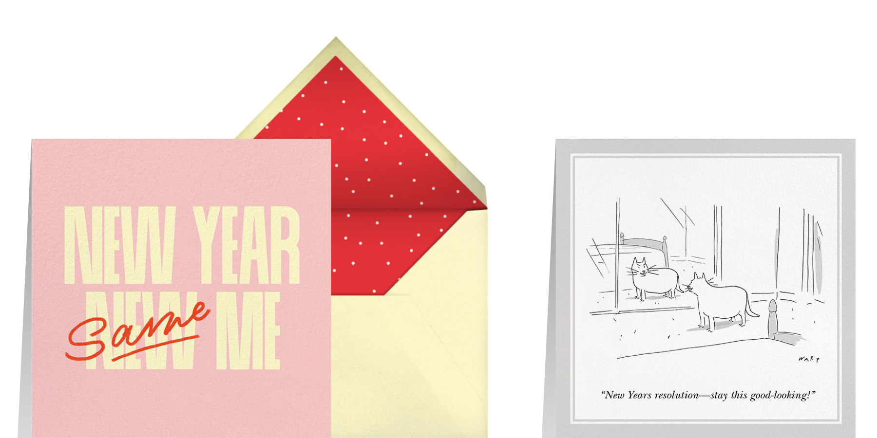funny New Year greeting card wording featuring New Year greeting cards from Paperless Post and The New Yorker