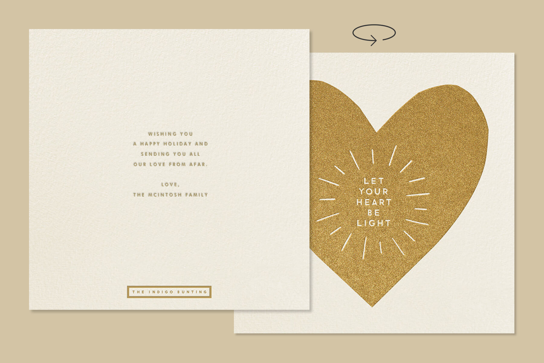 touching New Years wishes for New Year greeting cards featuring a gold greeting card from The Indigo Bunting
