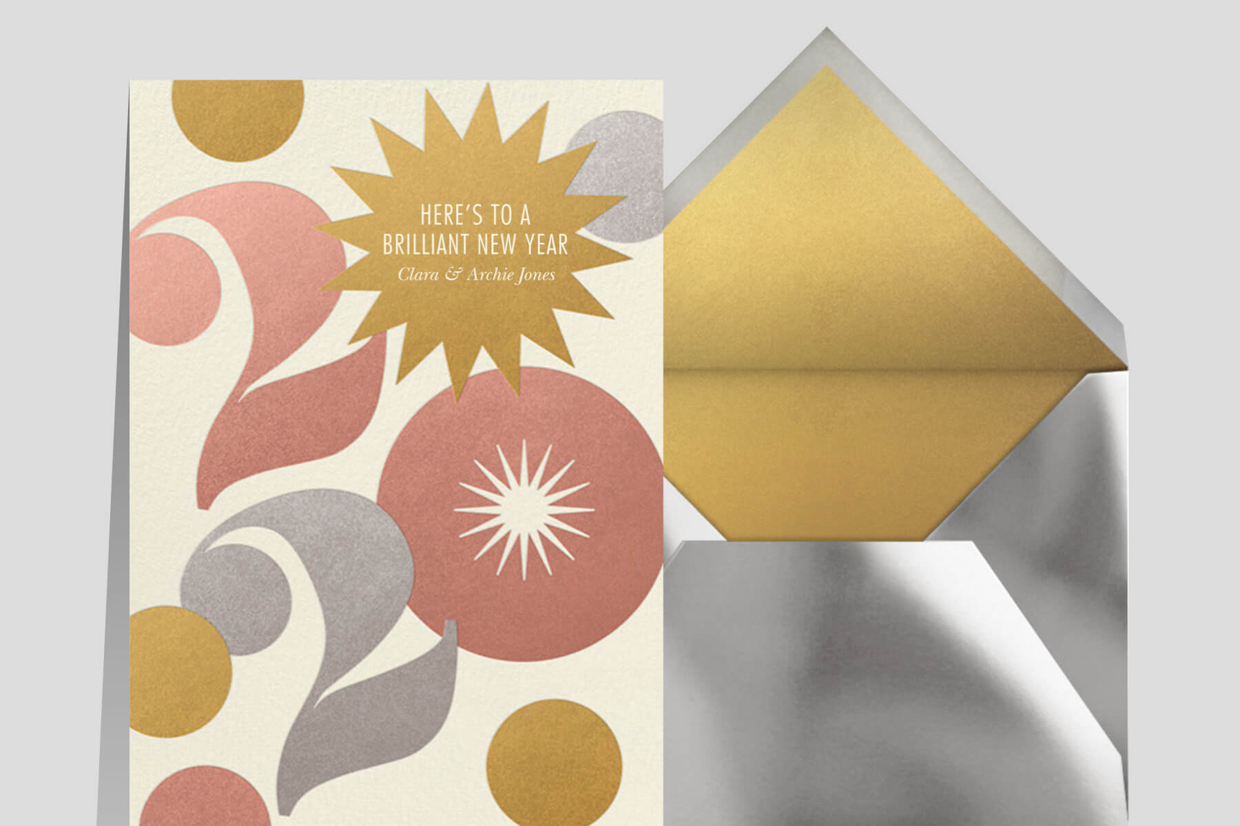 New Years messages and greetings for clients featuring a card by Paperless Post