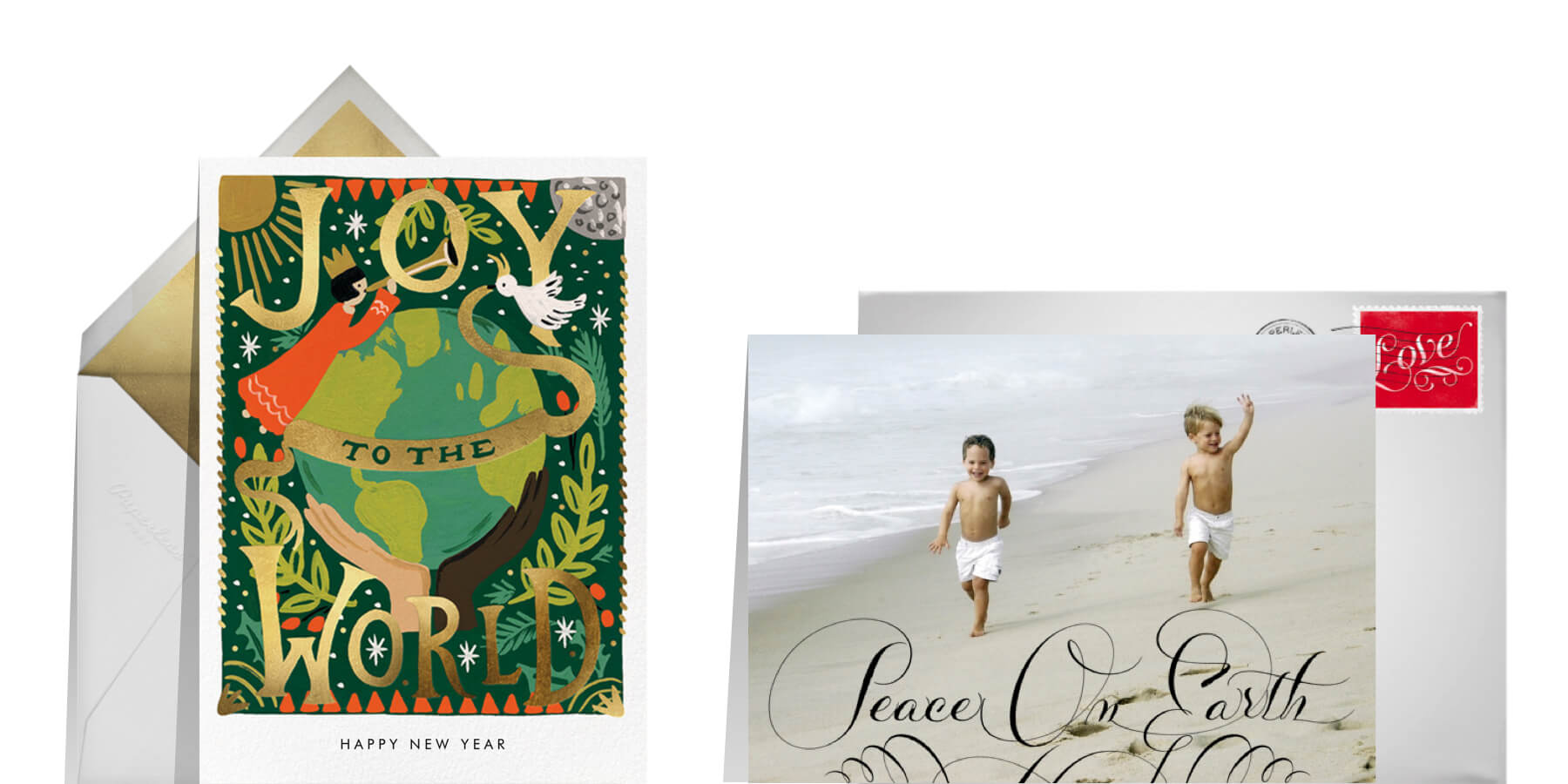 religious New Years wishes featuring New Year greeting cards from Rifle Paper Co. and Bernard Maisner