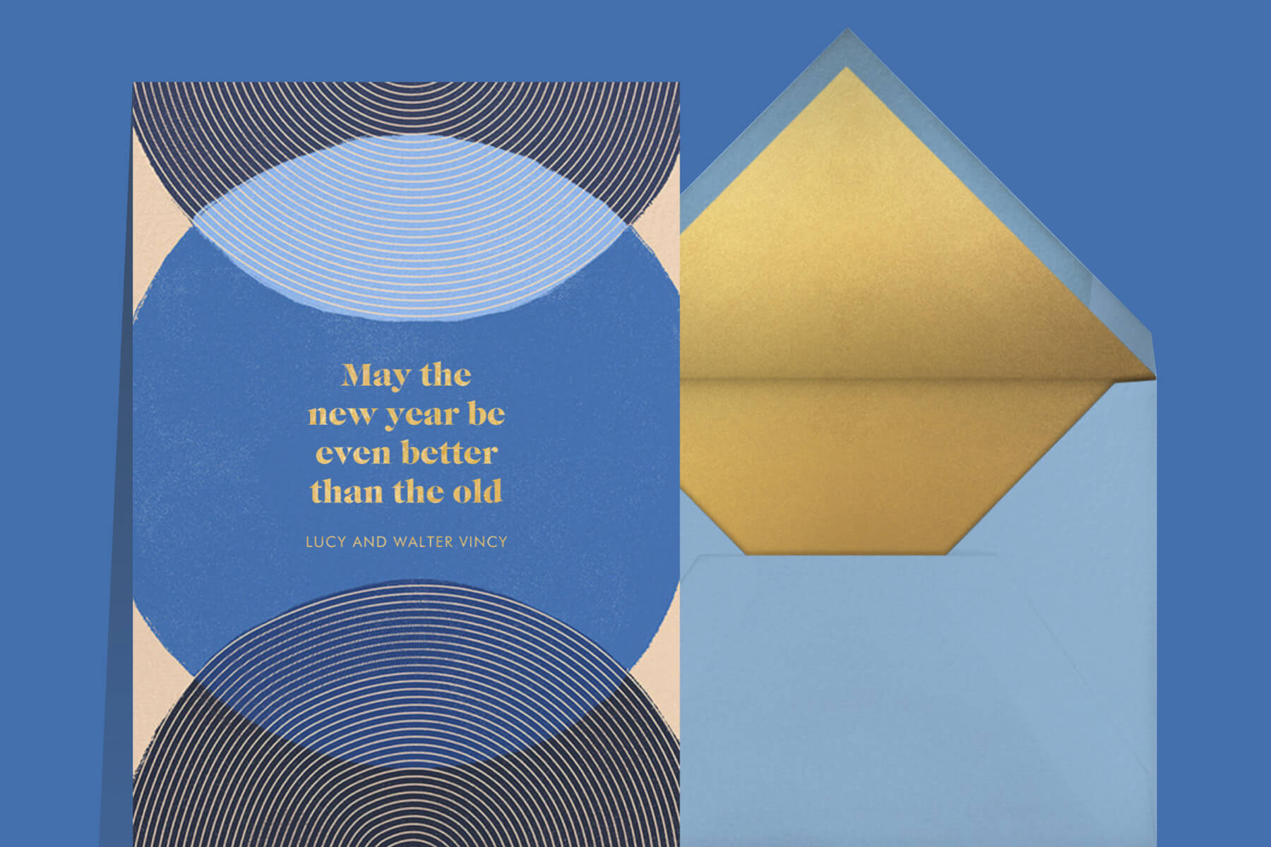 New Years quotes and messages featuring a blue and gold New Years greeting card from Paperless Posst