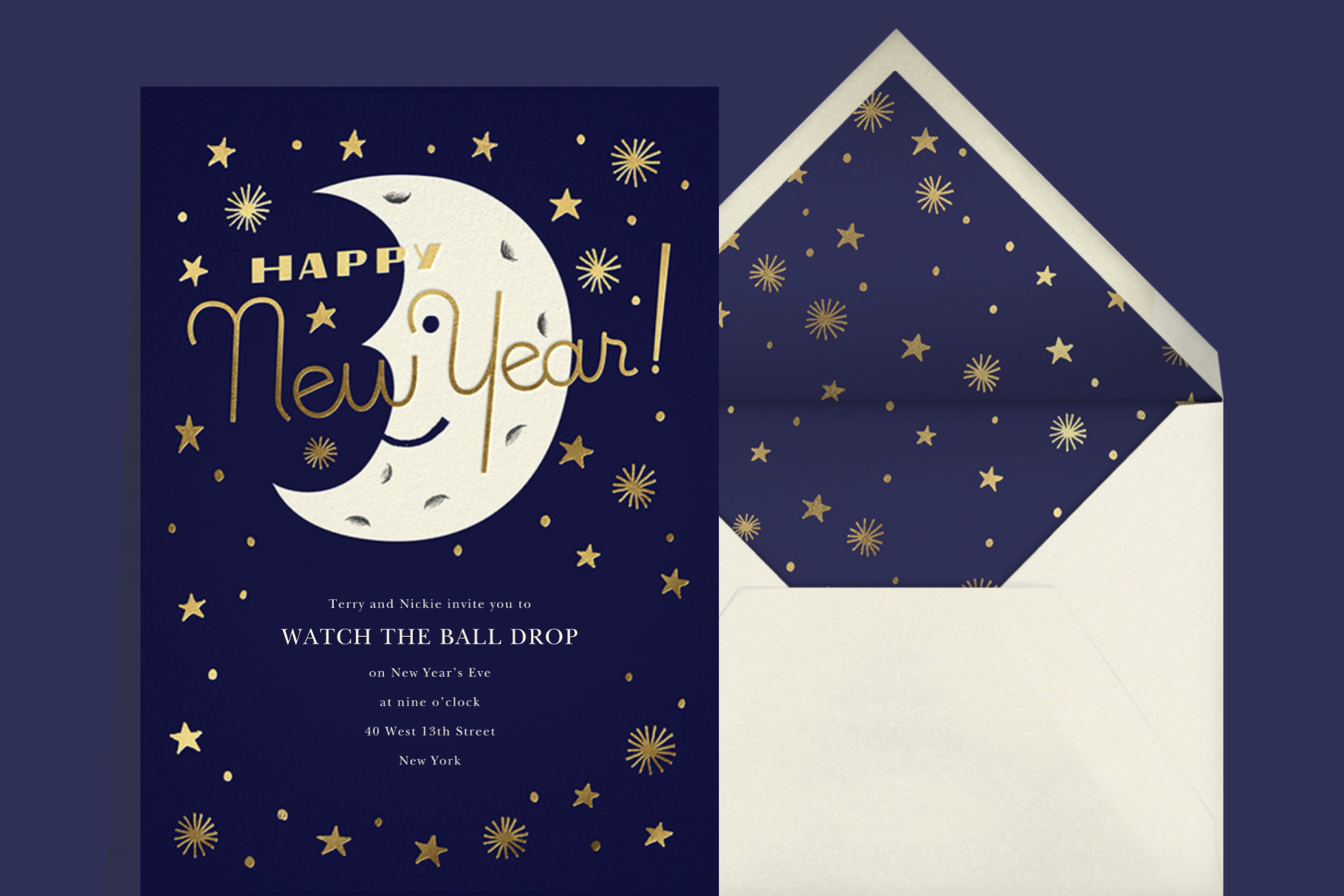 New Year's eve party invitation from Paperless Post featuring a smiling white moon on a blue celestial background