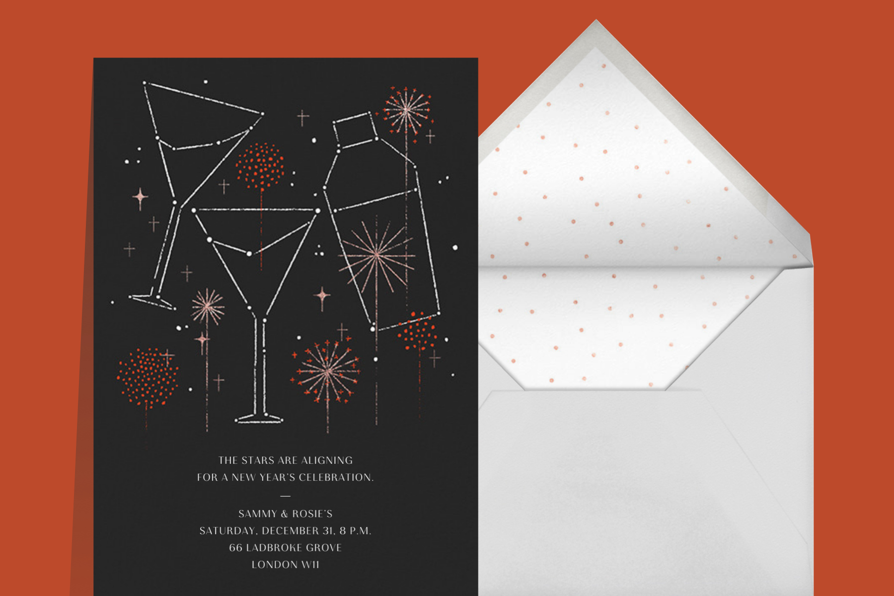 New Years Eve cocktail party invitation wording featuring a martini shaker and two glasses as constellations in the sky
