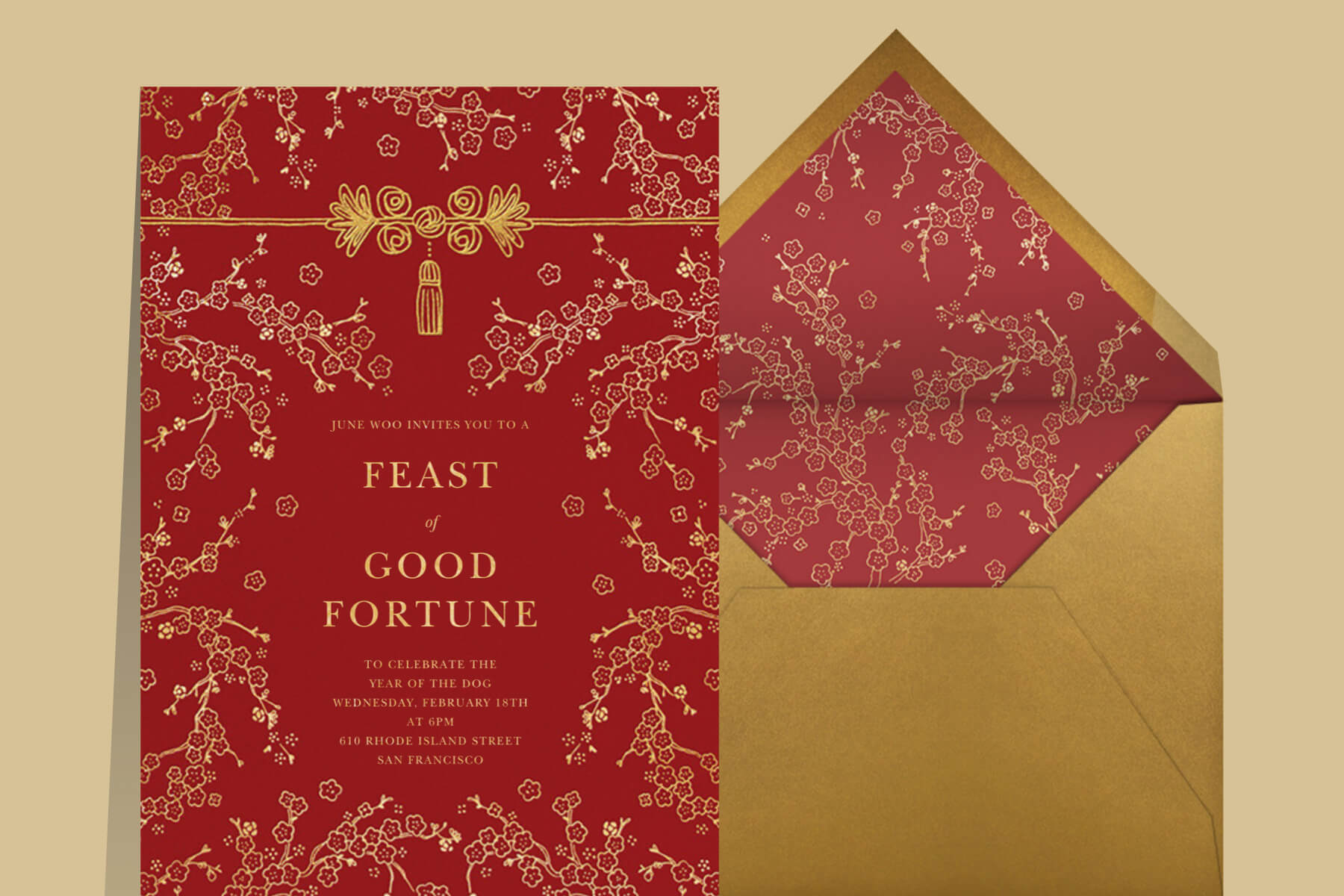 Lunar New Year invitation wording ideas from Paperless Post with a red card covered in gold branches reading feast of good fortune