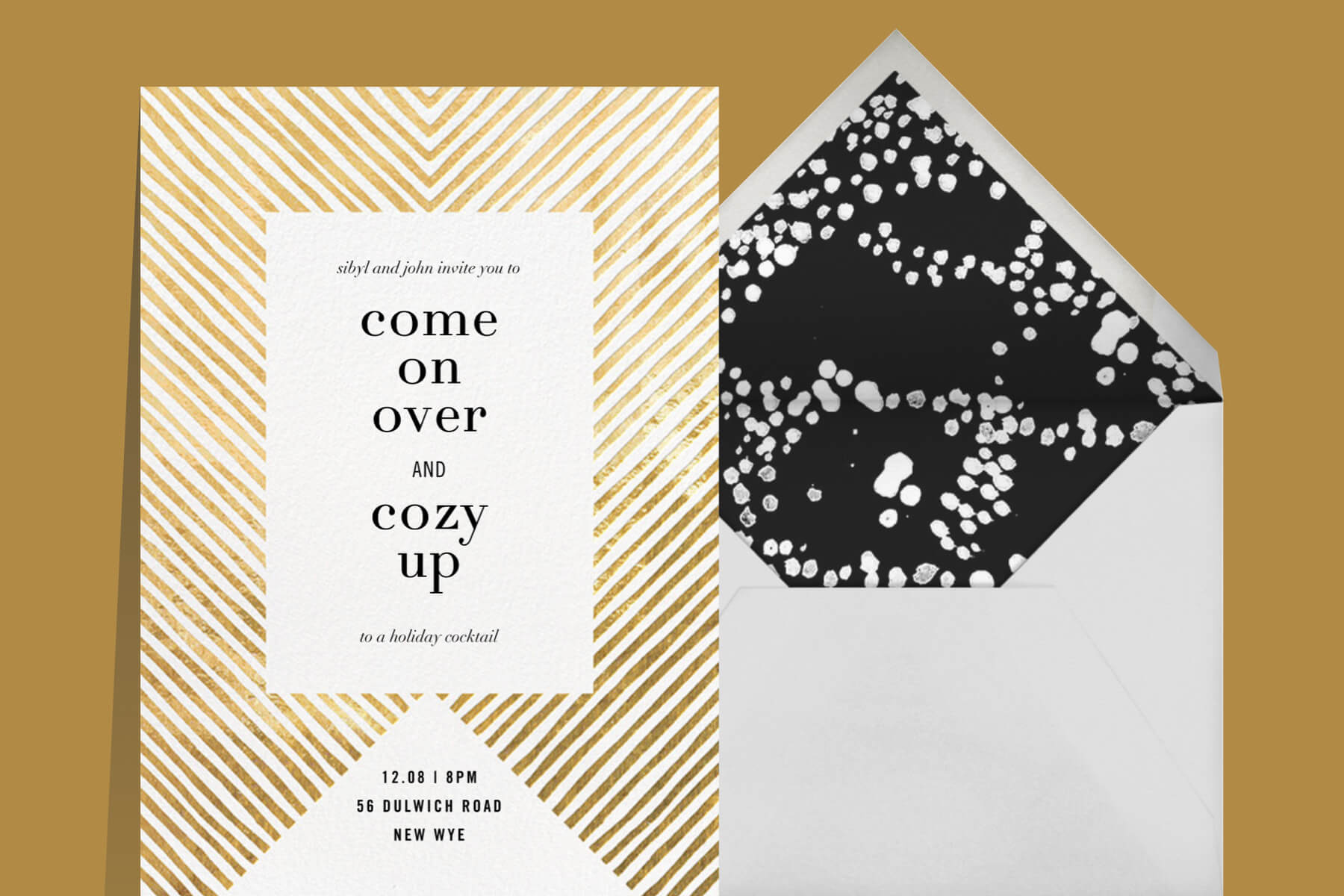 Axis by Kelly Wearstler gold and cream New Year's Eve party invitation