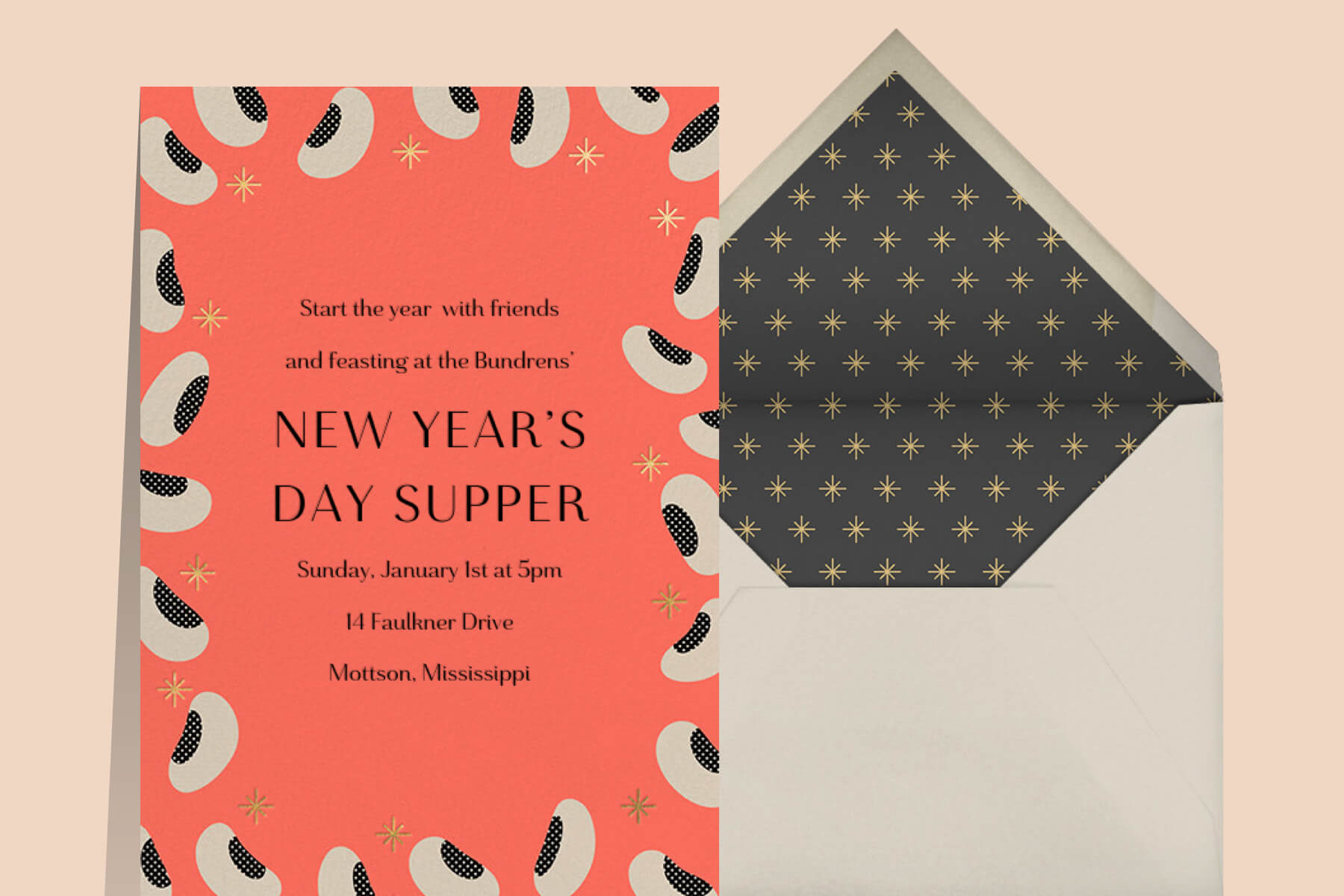 New Year's Eve potluck invitation wording featuring black eyed peas on a coral background from Paperless Post