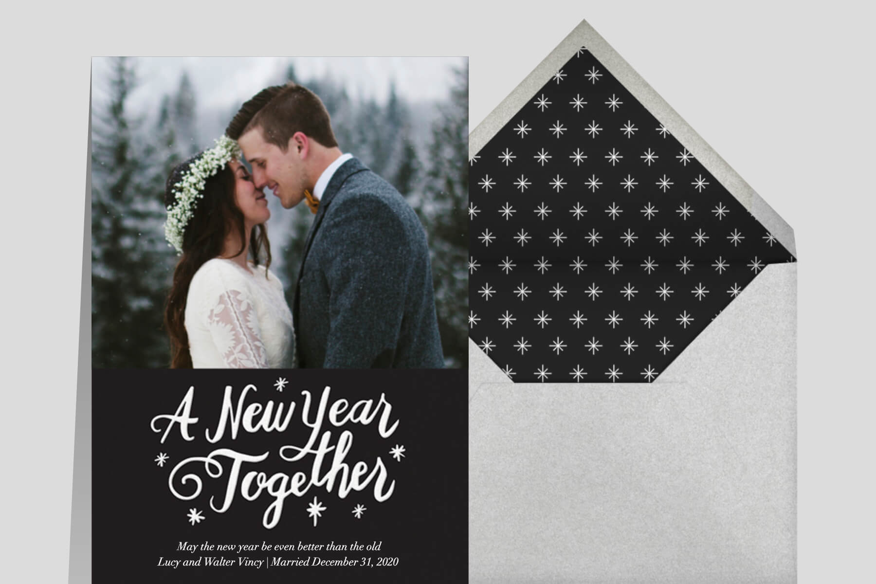 New Year's Eve wedding invitation wording ideas from Paperless Post featuring a photo card that reads A New Year Together