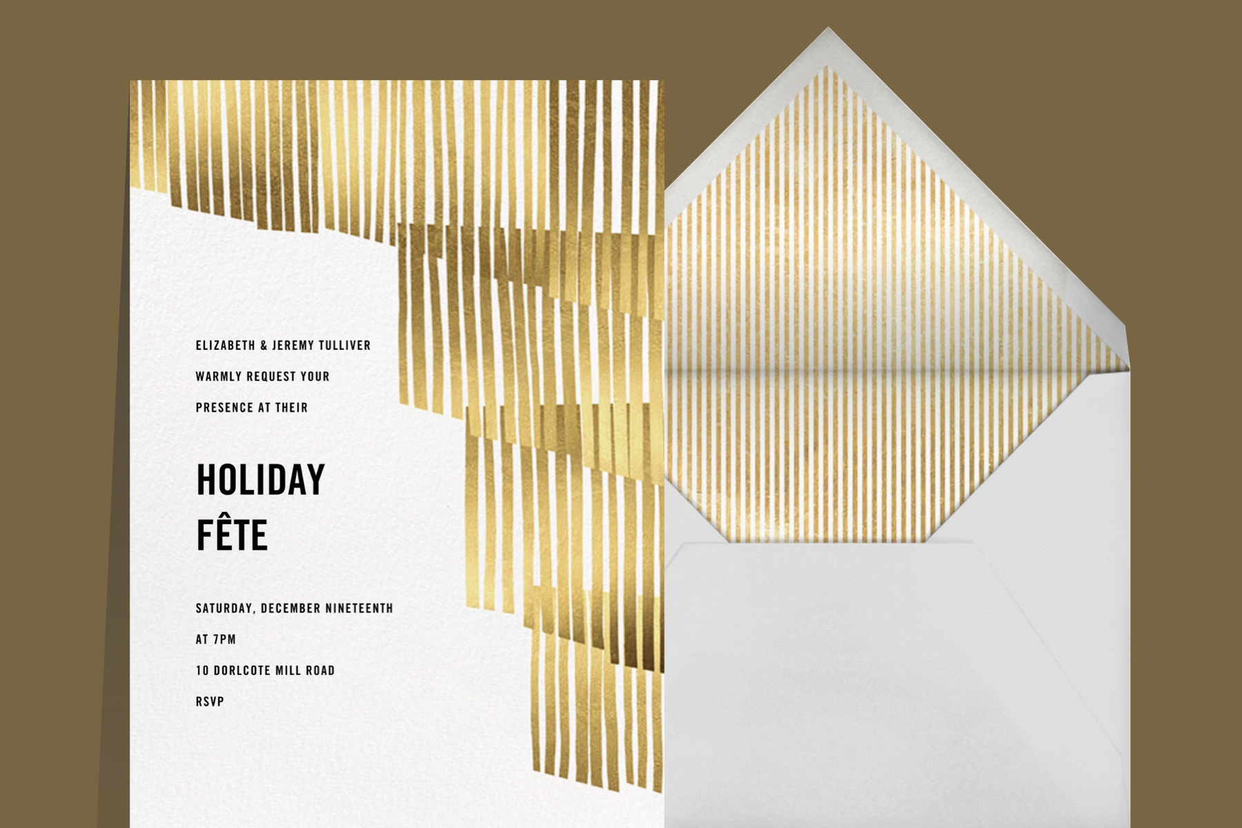 Swaying Fringe New Years party invitation featuring gold and white design