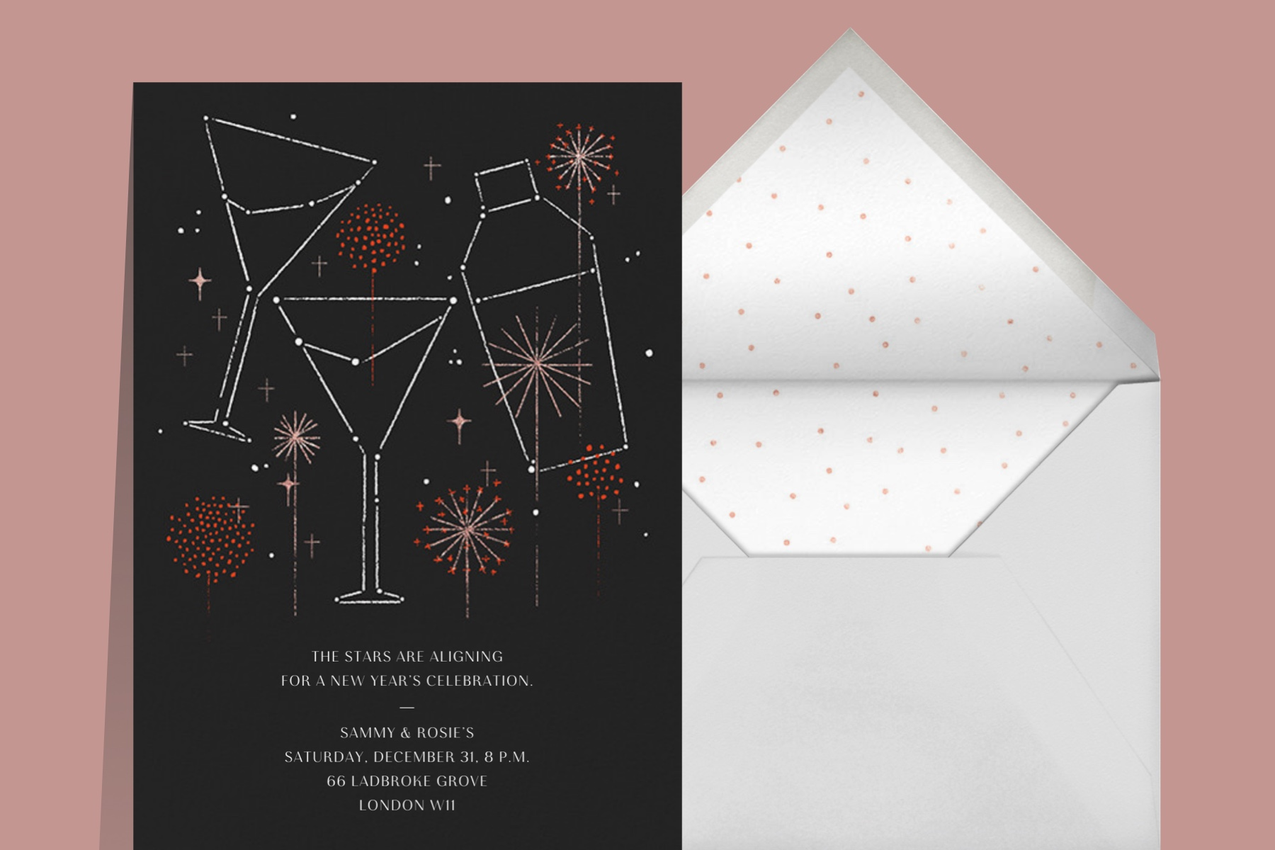 cocktail constellation New Years invitation for a cocktail or Champagne party